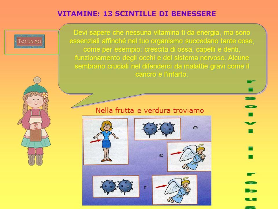 VITAMINE: 13 SCINTILLE DI BENESSERE Devi sapere che nessuna vitamina ti da energia, ma sono essenziali affinché nel tuo organismo succedano tante cose
