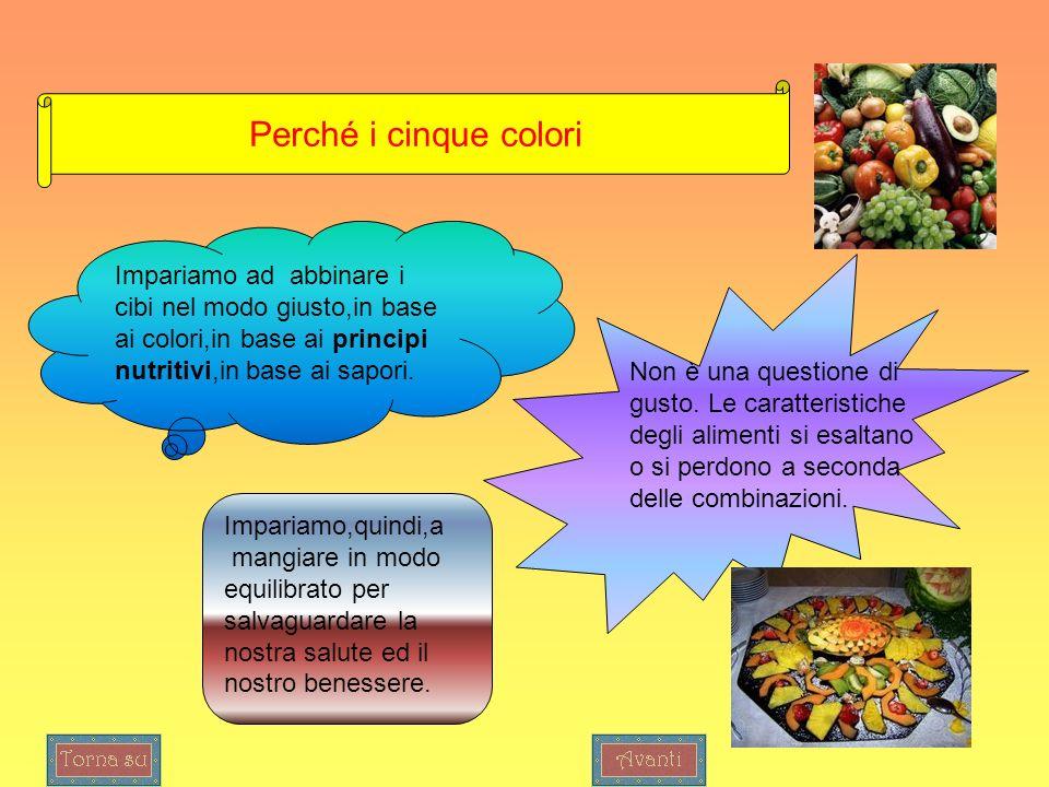 Perché i cinque colori Impariamo ad abbinare i cibi nel modo giusto,in base ai colori,in base ai principi nutritivi,in base ai sapori. Non è una quest