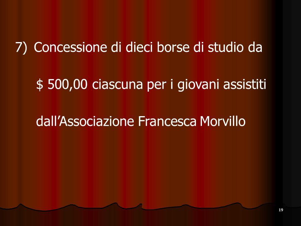 19 7) Concessione di dieci borse di studio da $ 500,00 ciascuna per i giovani assistiti dallAssociazione Francesca Morvillo