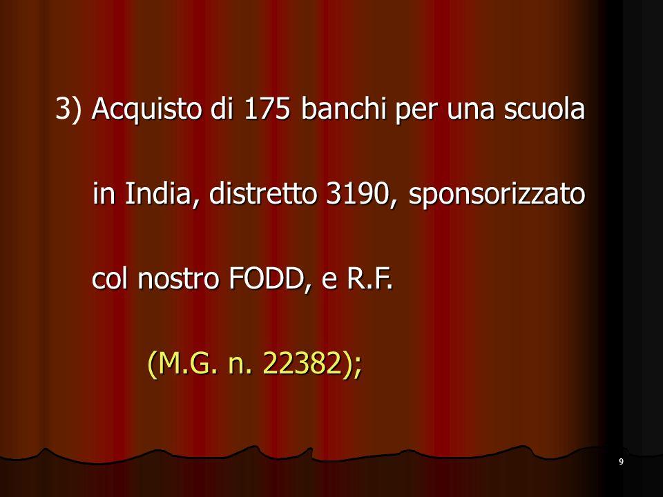 9 Acquisto di 175 banchi per una scuola 3) Acquisto di 175 banchi per una scuola in India, distretto 3190, sponsorizzato in India, distretto 3190, sponsorizzato col nostro FODD, e R.F.