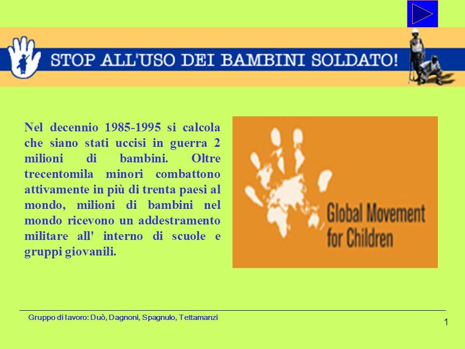Gruppo di lavoro: Duò, Dagnoni, Spagnulo, Tettamanzi 1 Nel decennio 1985-1995 si calcola che siano stati uccisi in guerra 2 milioni di bambini. Oltre
