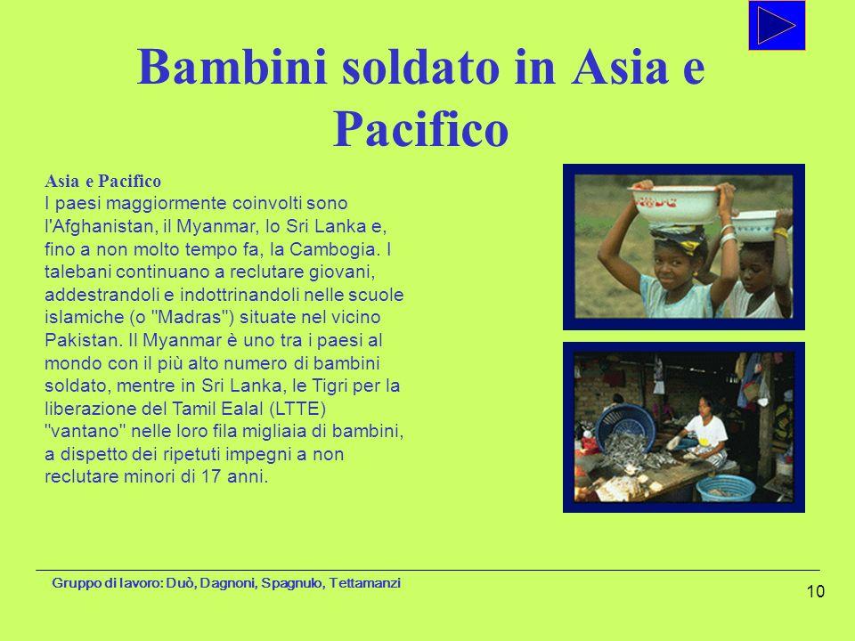 Gruppo di lavoro: Duò, Dagnoni, Spagnulo, Tettamanzi 10 Asia e Pacifico I paesi maggiormente coinvolti sono l'Afghanistan, il Myanmar, lo Sri Lanka e,