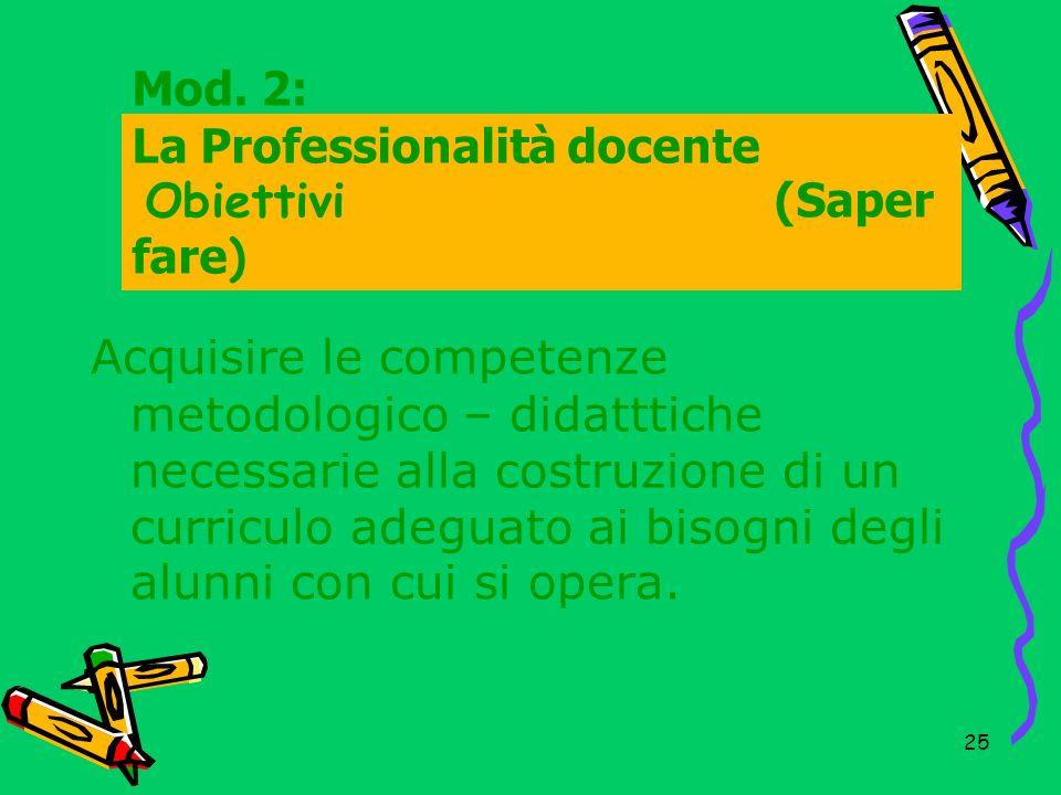 26 Mod.2: La Professionalità docente Contentuti (Saper fare ) 1.