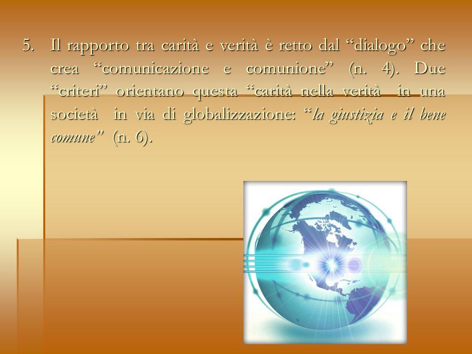 5. Il rapporto tra carità e verità è retto dal dialogo che crea comunicazione e comunione (n.