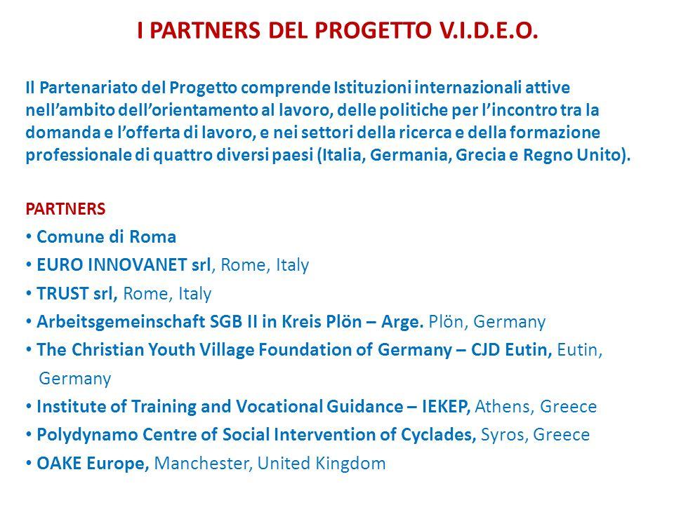 I PARTNERS DEL PROGETTO V.I.D.E.O. Il Partenariato del Progetto comprende Istituzioni internazionali attive nellambito dellorientamento al lavoro, del