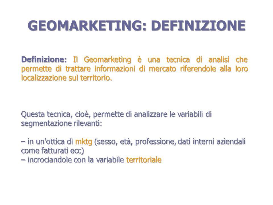 Visualizzazioni aree di vendite e fatturati GEOMARKETING: APPLICAZIONI POSSIBILI