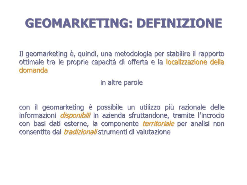 GEOMARKETING: SCENARIO MASSMKTG MKTGTERRITORIALEMKTG ONE TO ONE GEOMKTG: segmentazione del mercato in base ai prodotti/servizi, al consumatore e al contesto territoriale andando a cogliere delle potenzialità che rimarrebbero inespresse qualora ci si limitasse ad una visione dinsieme del mercato stesso