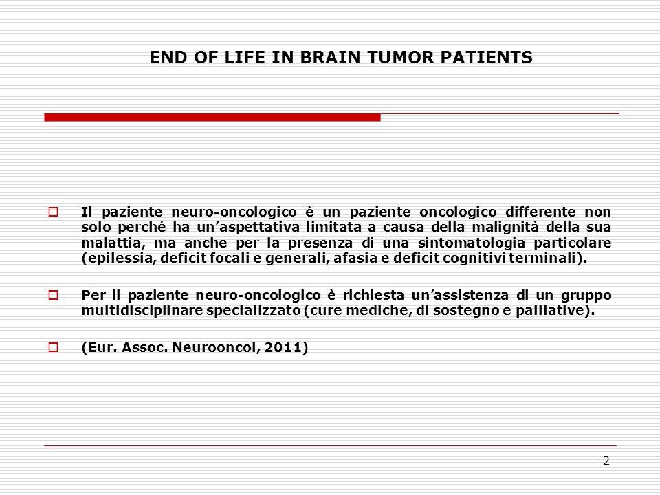 3 END OF LIFE IN BRAIN TUMOR PATIENTS Bisogni assistenziali nei pazienti con tumore cerebrale in fase avanzata: Comunicazione diagnosi e prognosi Terapie di sostegno Sostegno psicologico al malato ed alla famiglia Assistenza intensiva nella fase terminale