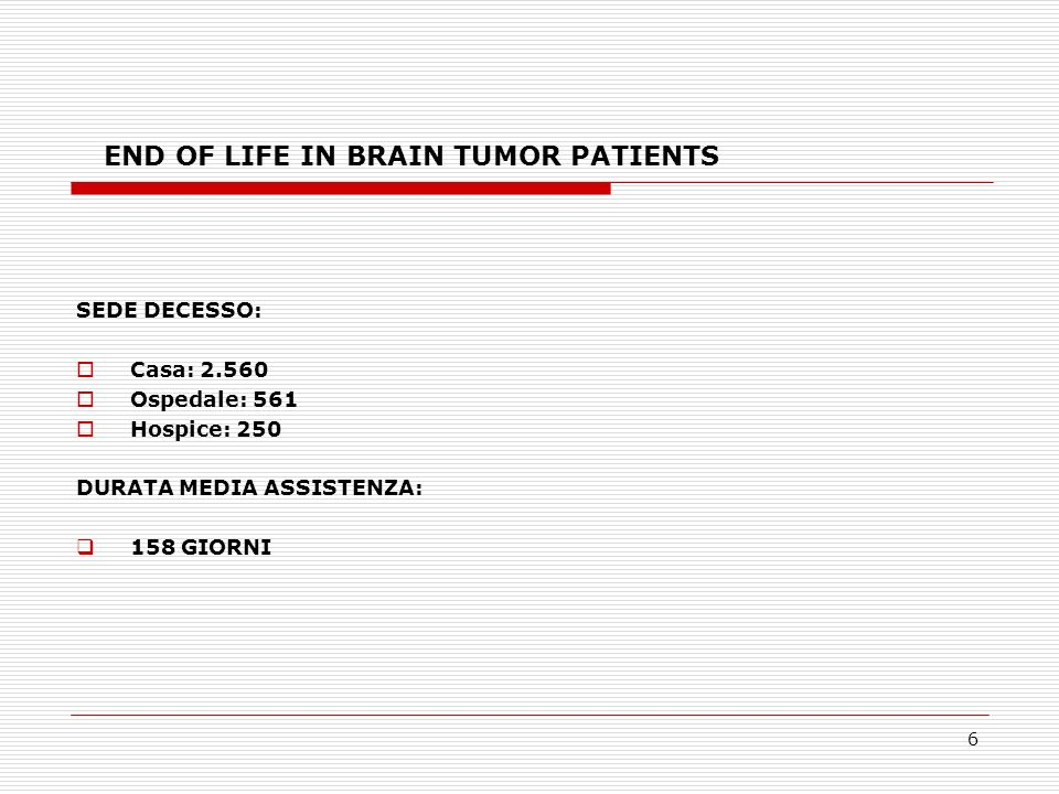 6 END OF LIFE IN BRAIN TUMOR PATIENTS SEDE DECESSO: Casa: 2.560 Ospedale: 561 Hospice: 250 DURATA MEDIA ASSISTENZA: 158 GIORNI