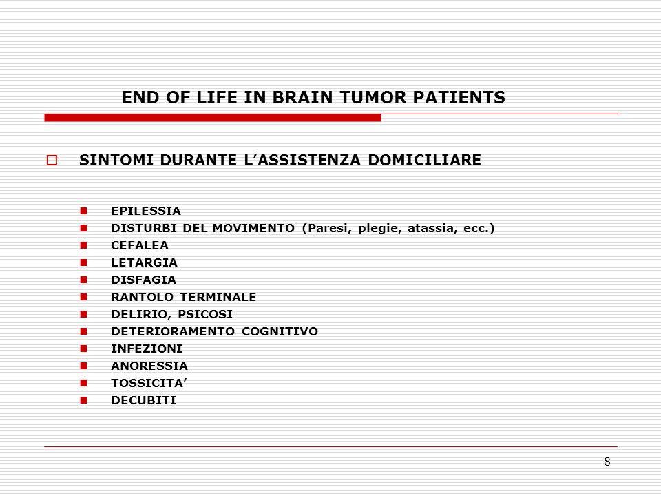 19 END OF LIFE IN BRAIN TUMOR PATIENTS CONSIDERAZIONI CONCLUSIVE E necessario educare il personale medico e paramedico a modelli di assistenza domiciliare ai pazienti con TC.