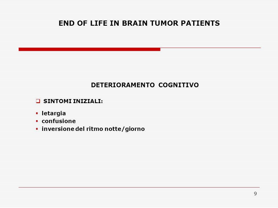 10 END OF LIFE IN BRAIN TUMOR PATIENTS DELIRIO Disordine della coscienza e dellattenzione associato ad anomalie cognitive e percettive.