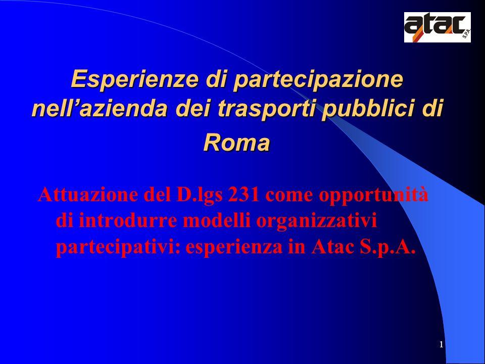 1 Esperienze di partecipazione nellazienda dei trasporti pubblici di Roma Attuazione del D.lgs 231 come opportunità di introdurre modelli organizzativ