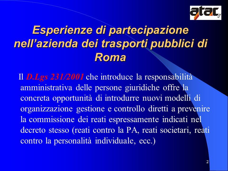 2 Esperienze di partecipazione nellazienda dei trasporti pubblici di Roma Il D.Lgs 231/2001 che introduce la responsabilità amministrativa delle perso