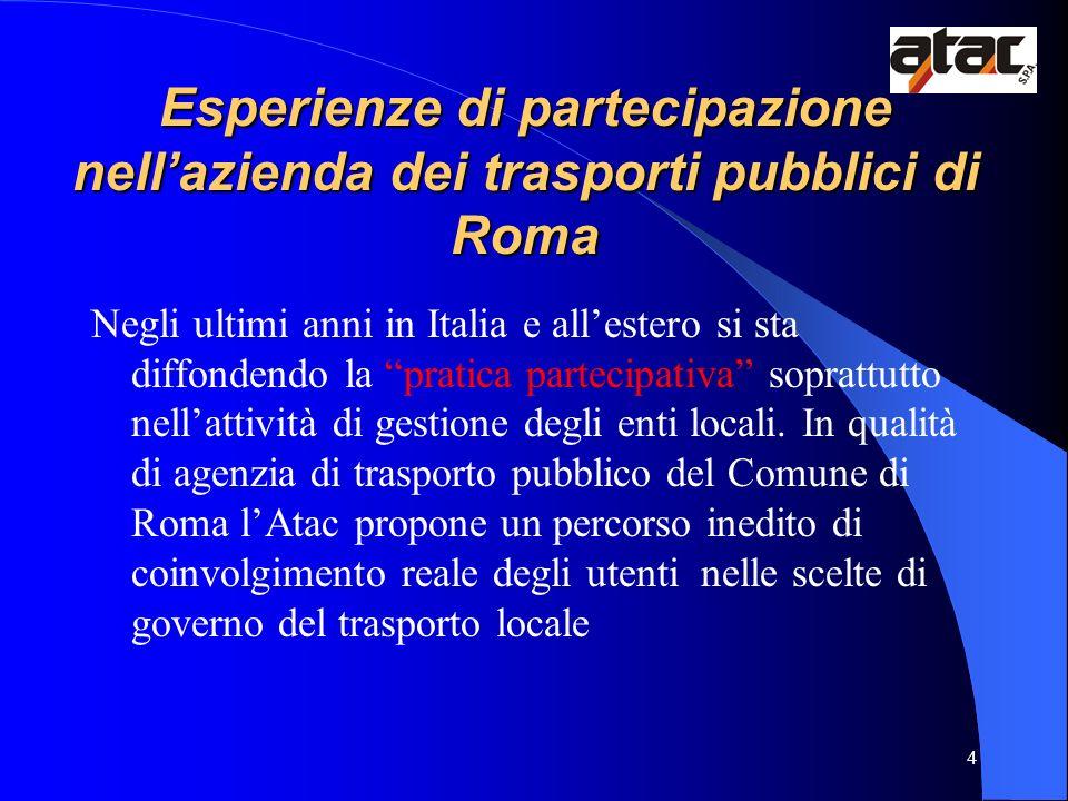 4 Esperienze di partecipazione nellazienda dei trasporti pubblici di Roma Negli ultimi anni in Italia e allestero si sta diffondendo la pratica partec