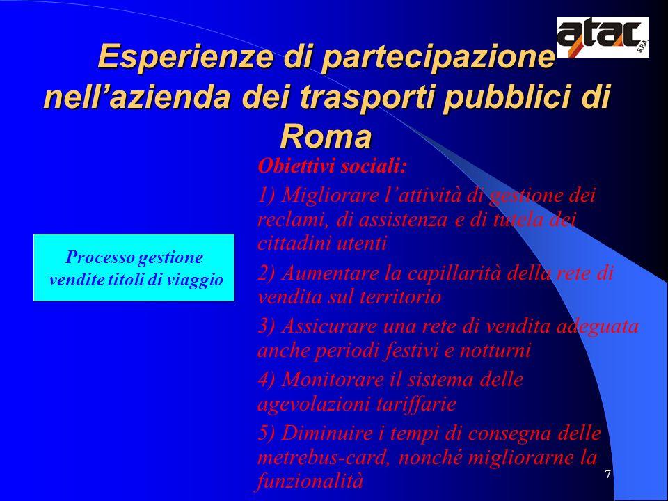 7 Esperienze di partecipazione nellazienda dei trasporti pubblici di Roma Obiettivi sociali: 1) Migliorare lattività di gestione dei reclami, di assis