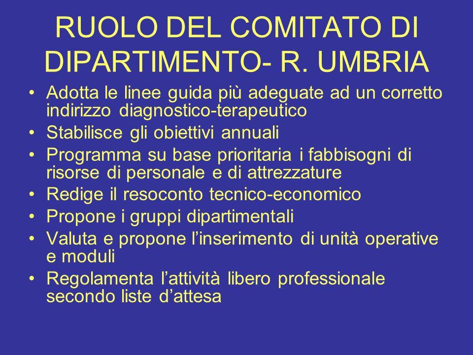 RUOLO DEL COMITATO DI DIPARTIMENTO- R. UMBRIA Adotta le linee guida più adeguate ad un corretto indirizzo diagnostico-terapeutico Stabilisce gli obiet