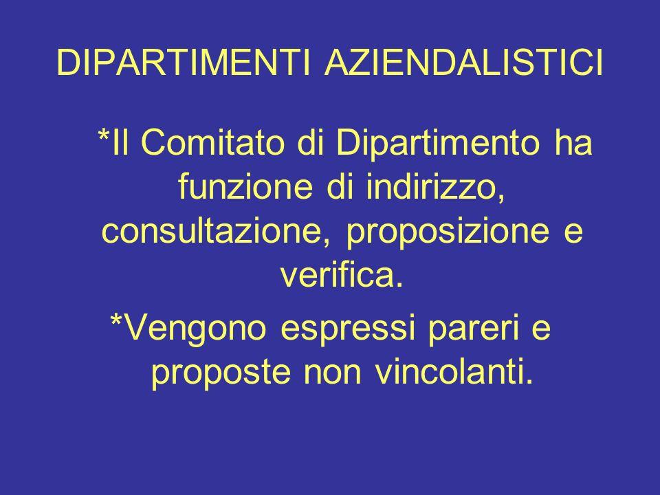 DIPARTIMENTI AZIENDALISTICI *Il Comitato di Dipartimento ha funzione di indirizzo, consultazione, proposizione e verifica. *Vengono espressi pareri e