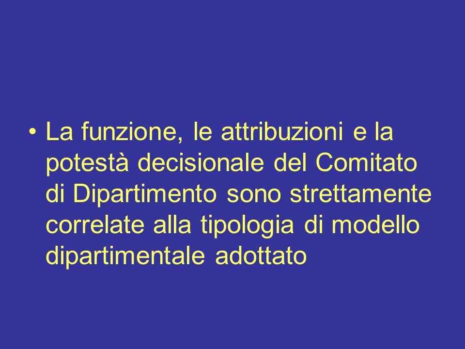 La funzione, le attribuzioni e la potestà decisionale del Comitato di Dipartimento sono strettamente correlate alla tipologia di modello dipartimental