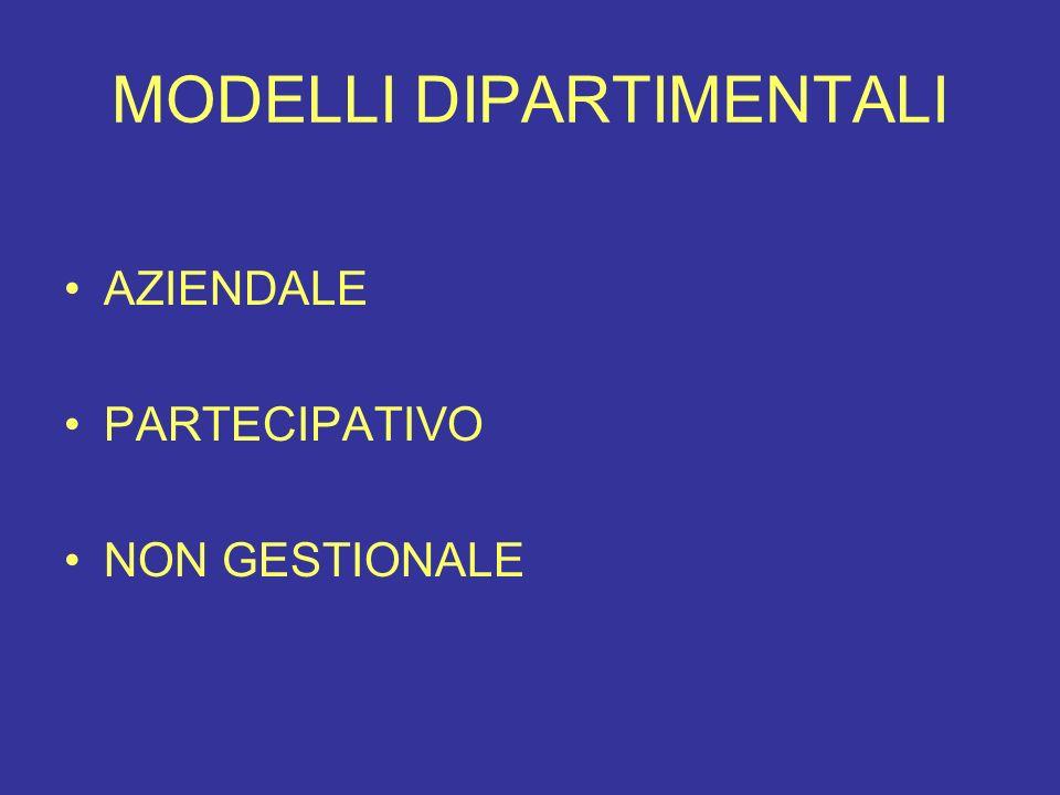 MODELLI DIPARTIMENTALI AZIENDALE PARTECIPATIVO NON GESTIONALE