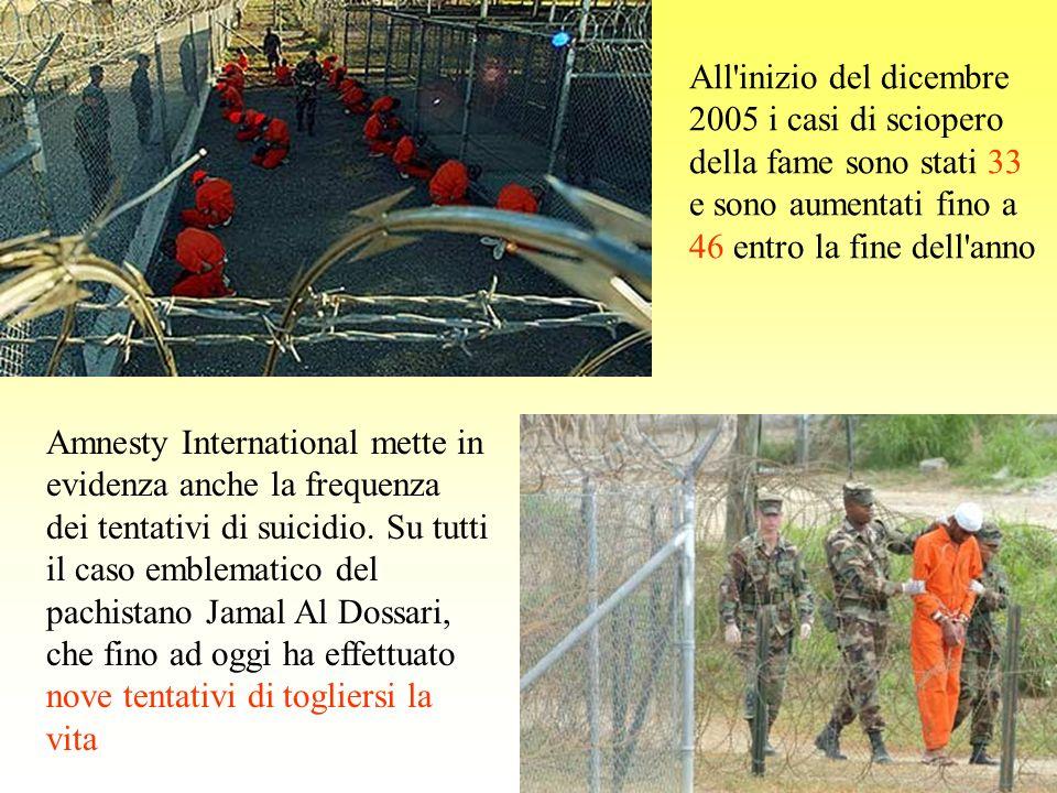 Amnesty International mette in evidenza anche la frequenza dei tentativi di suicidio. Su tutti il caso emblematico del pachistano Jamal Al Dossari, ch