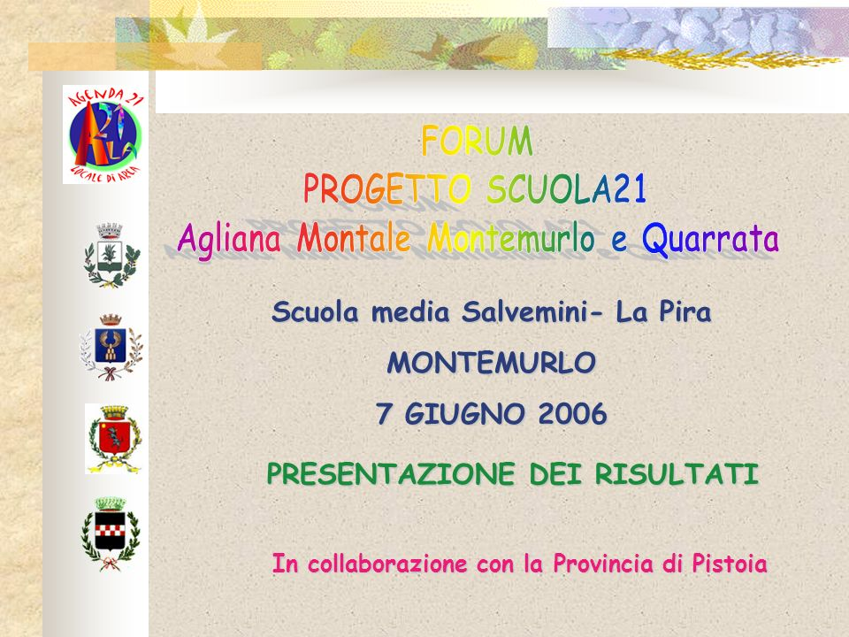 Scuola media Salvemini- La Pira MONTEMURLO 7 GIUGNO 2006 PRESENTAZIONE DEI RISULTATI In collaborazione con la Provincia di Pistoia
