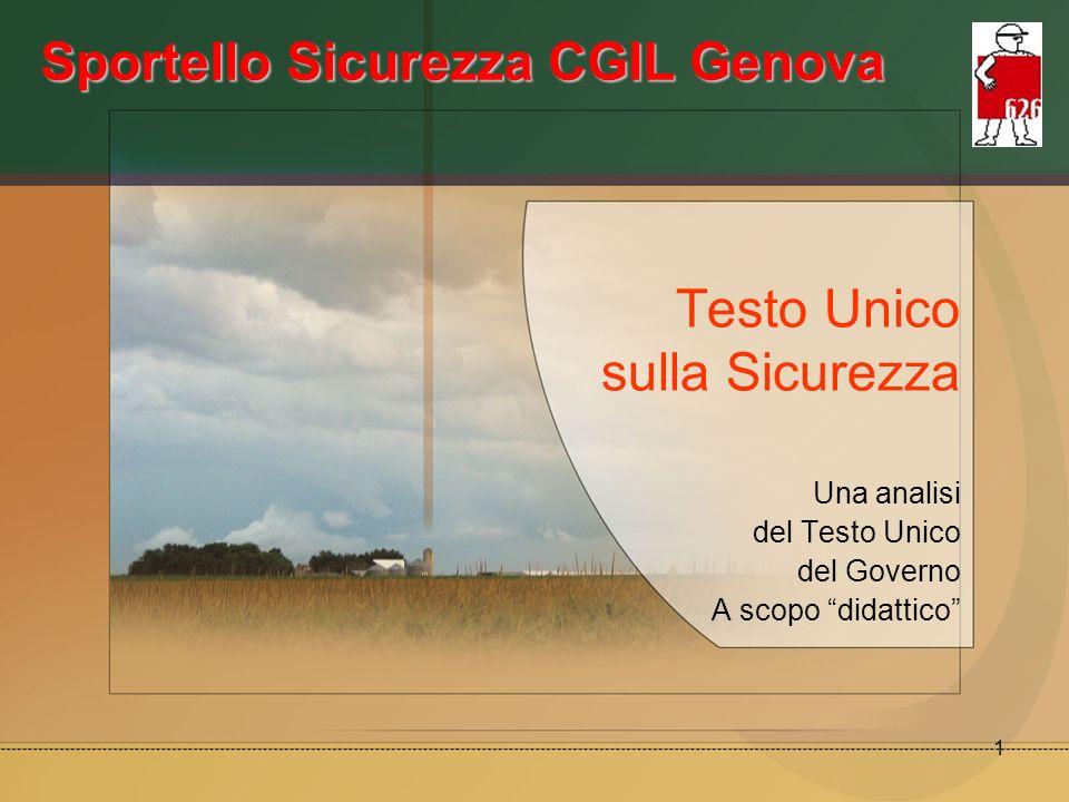 1 Testo Unico sulla Sicurezza Una analisi del Testo Unico del Governo A scopo didattico Sportello Sicurezza CGIL Genova