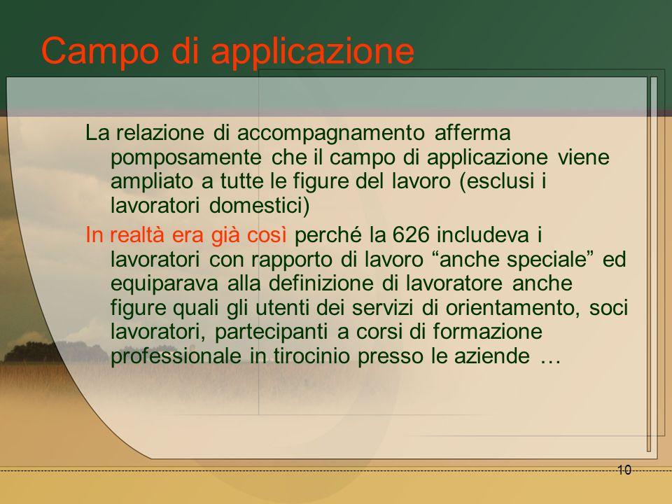 10 Campo di applicazione La relazione di accompagnamento afferma pomposamente che il campo di applicazione viene ampliato a tutte le figure del lavoro