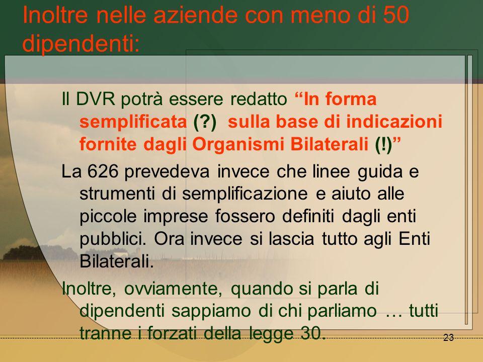 23 Inoltre nelle aziende con meno di 50 dipendenti: Il DVR potrà essere redatto In forma semplificata (?) sulla base di indicazioni fornite dagli Orga