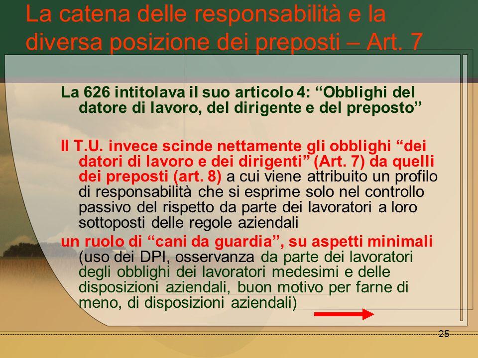 25 La catena delle responsabilità e la diversa posizione dei preposti – Art. 7 La 626 intitolava il suo articolo 4: Obblighi del datore di lavoro, del