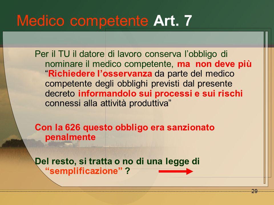 29 Medico competente Art. 7 Per il TU il datore di lavoro conserva lobbligo di nominare il medico competente, ma non deve piùRichiedere losservanza da
