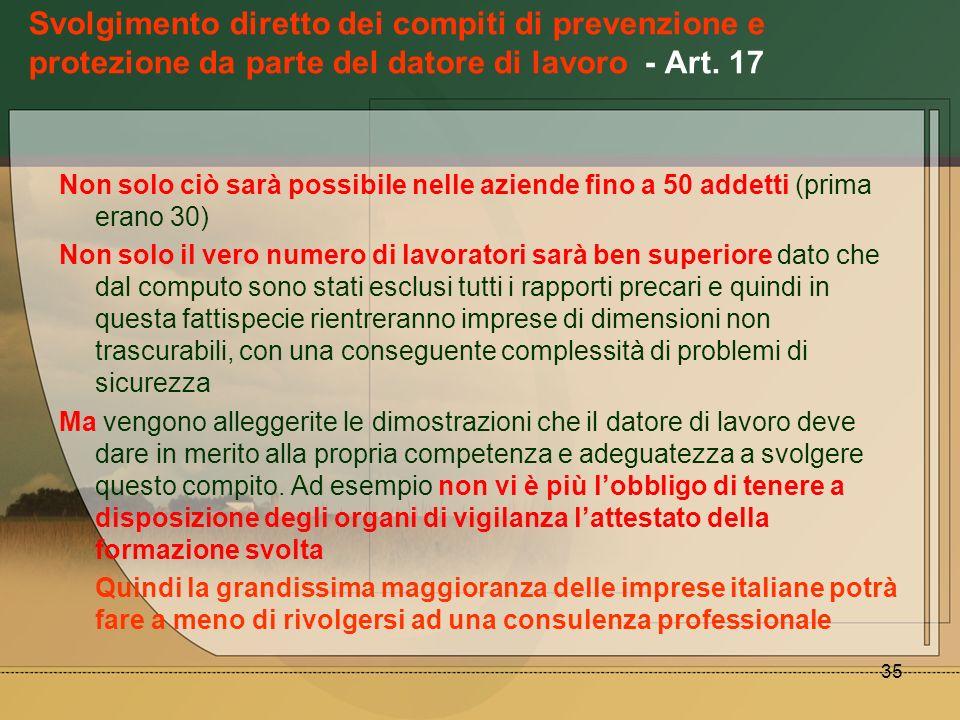 35 Svolgimento diretto dei compiti di prevenzione e protezione da parte del datore di lavoro - Art. 17 Non solo ciò sarà possibile nelle aziende fino