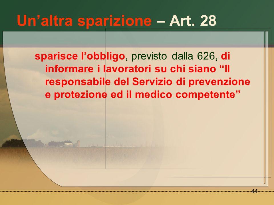 44 Unaltra sparizione – Art. 28 sparisce lobbligo, previsto dalla 626, di informare i lavoratori su chi siano Il responsabile del Servizio di prevenzi