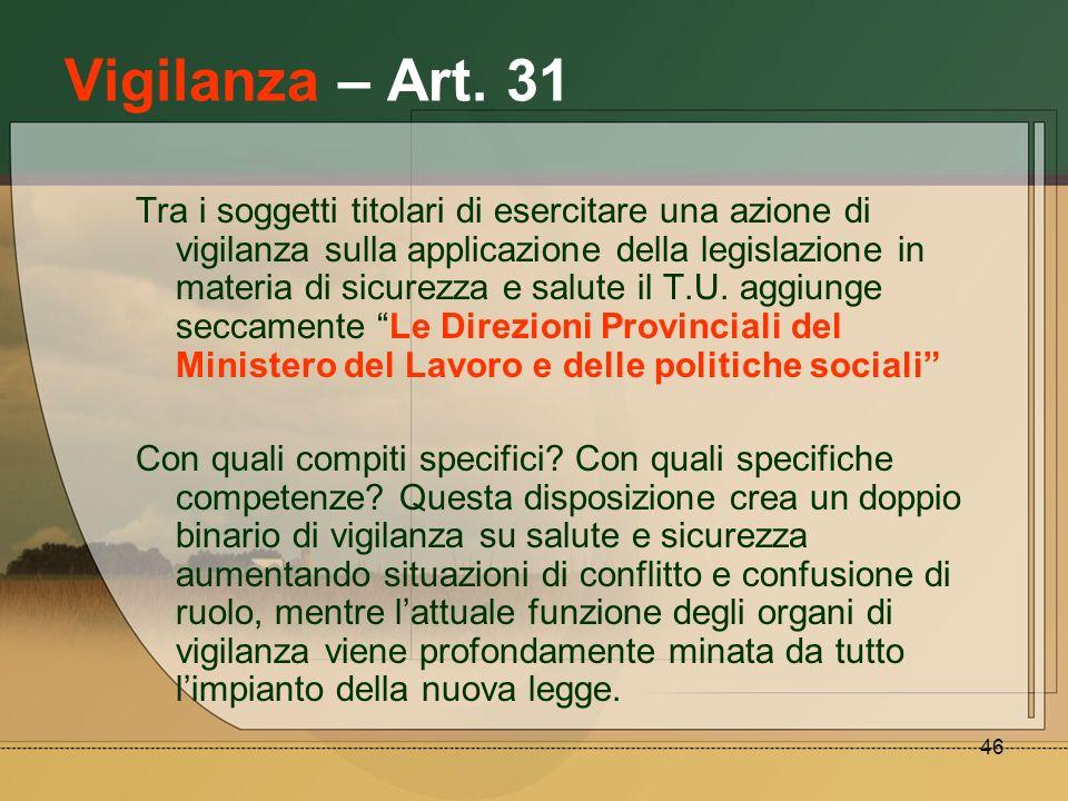 46 Vigilanza – Art. 31 Tra i soggetti titolari di esercitare una azione di vigilanza sulla applicazione della legislazione in materia di sicurezza e s
