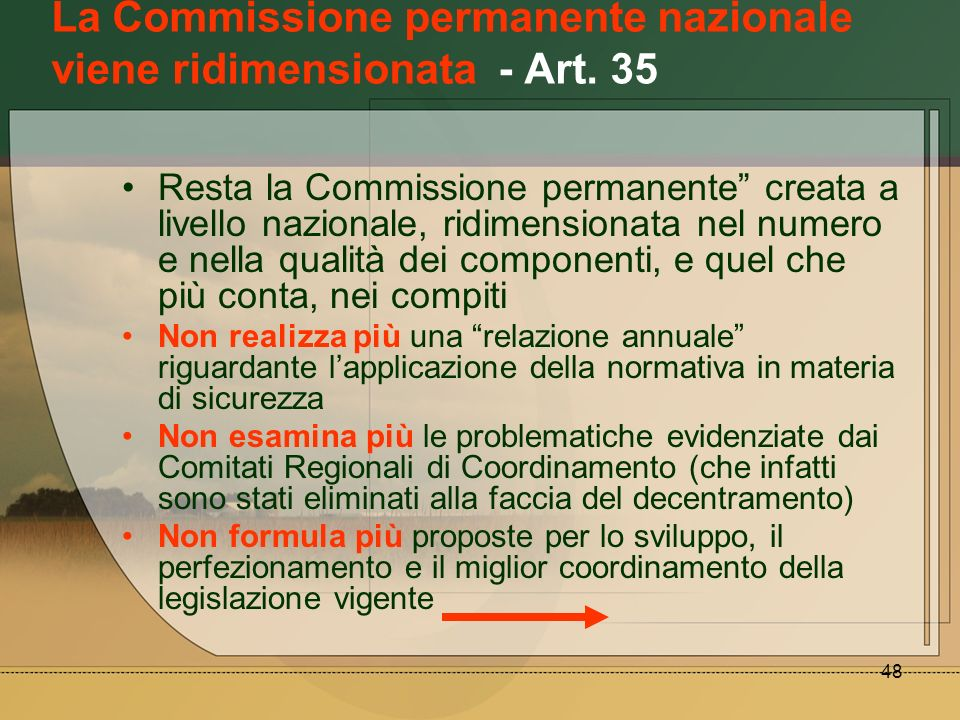 48 La Commissione permanente nazionale viene ridimensionata - Art. 35 Resta la Commissione permanente creata a livello nazionale, ridimensionata nel n