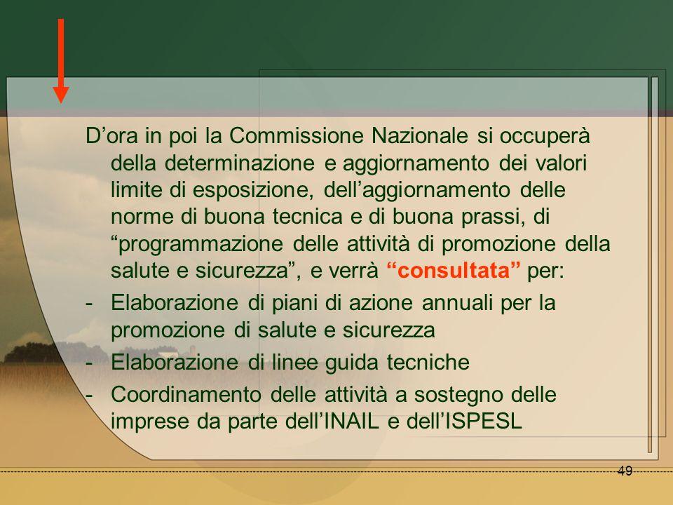 49 Dora in poi la Commissione Nazionale si occuperà della determinazione e aggiornamento dei valori limite di esposizione, dellaggiornamento delle nor