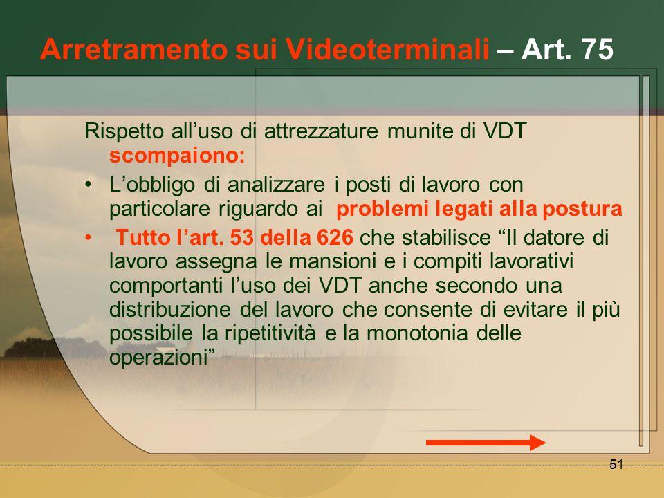51 Arretramento sui Videoterminali – Art. 75 Rispetto alluso di attrezzature munite di VDT scompaiono: Lobbligo di analizzare i posti di lavoro con pa