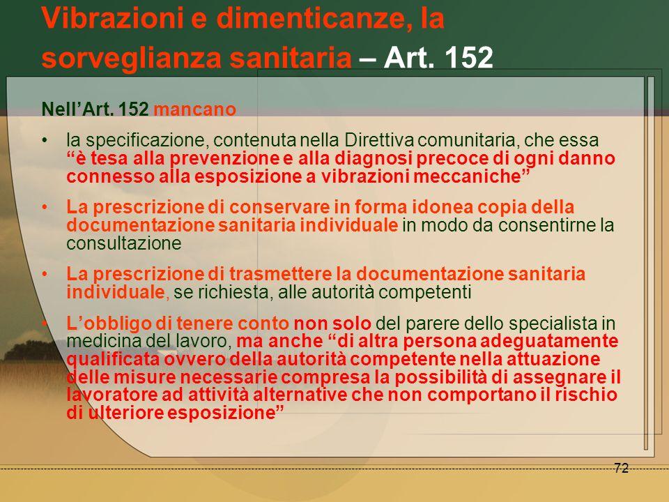 72 Vibrazioni e dimenticanze, la sorveglianza sanitaria – Art. 152 NellArt. 152 mancano la specificazione, contenuta nella Direttiva comunitaria, che