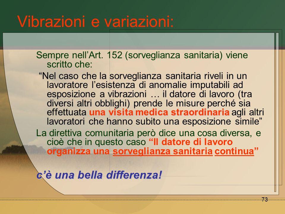 73 Vibrazioni e variazioni: Sempre nellArt. 152 (sorveglianza sanitaria) viene scritto che: unavisita medicastraordinaria Nel caso che la sorveglianza