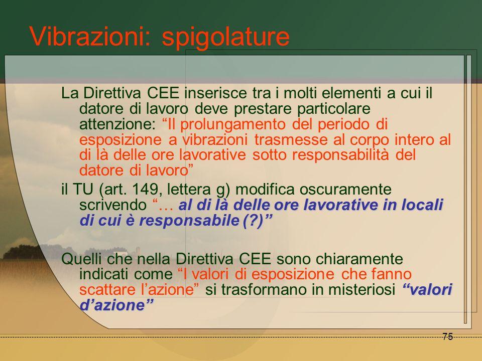 75 Vibrazioni: spigolature La Direttiva CEE inserisce tra i molti elementi a cui il datore di lavoro deve prestare particolare attenzione: Il prolunga