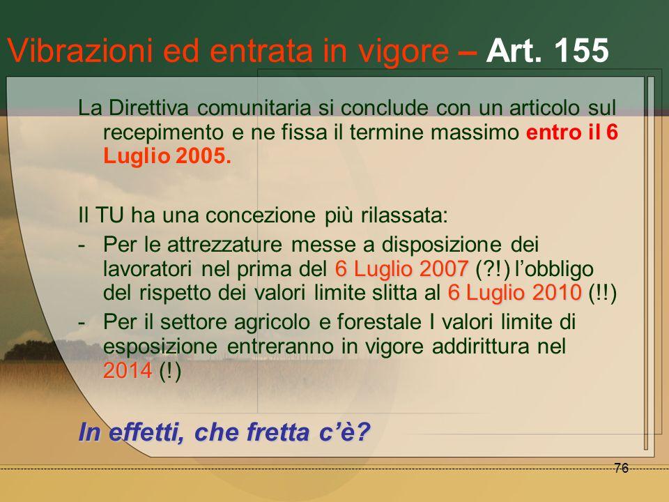 76 Vibrazioni ed entrata in vigore – Art. 155 La Direttiva comunitaria si conclude con un articolo sul recepimento e ne fissa il termine massimo entro
