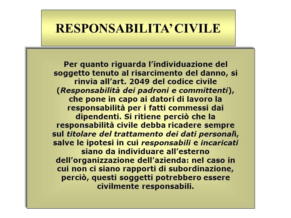 Per quanto riguarda lindividuazione del soggetto tenuto al risarcimento del danno, si rinvia allart. 2049 del codice civile (Responsabilità dei padron