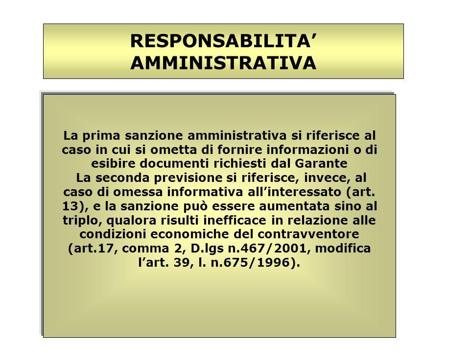 La prima sanzione amministrativa si riferisce al caso in cui si ometta di fornire informazioni o di esibire documenti richiesti dal Garante La seconda