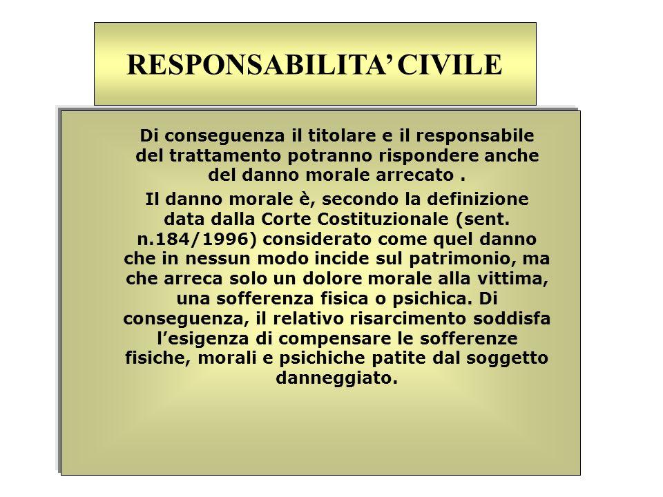 Di conseguenza il titolare e il responsabile del trattamento potranno rispondere anche del danno morale arrecato. Il danno morale è, secondo la defini