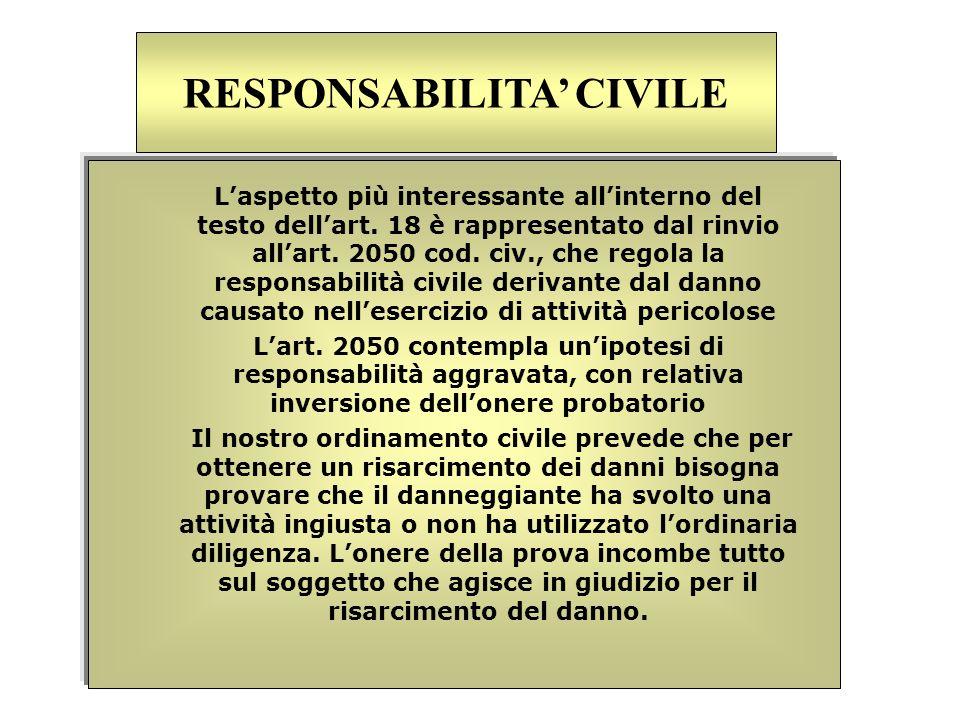Laspetto più interessante allinterno del testo dellart. 18 è rappresentato dal rinvio allart. 2050 cod. civ., che regola la responsabilità civile deri