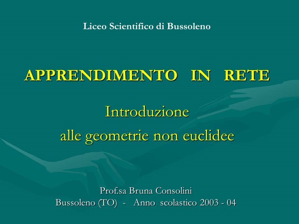 APPRENDIMENTO IN RETE Introduzione alle geometrie non euclidee Liceo Scientifico di Bussoleno Prof.sa Bruna Consolini Bussoleno (TO) - Anno scolastico