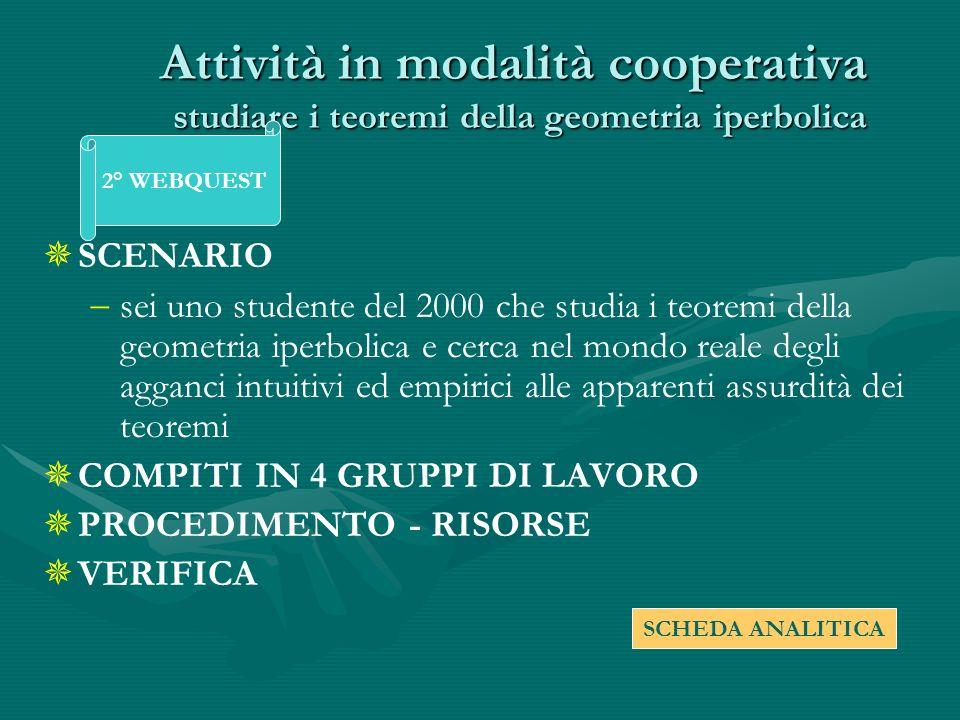 Attività in modalità cooperativa studiare i teoremi della geometria iperbolica SCENARIO sei uno studente del 2000 che studia i teoremi della geometria