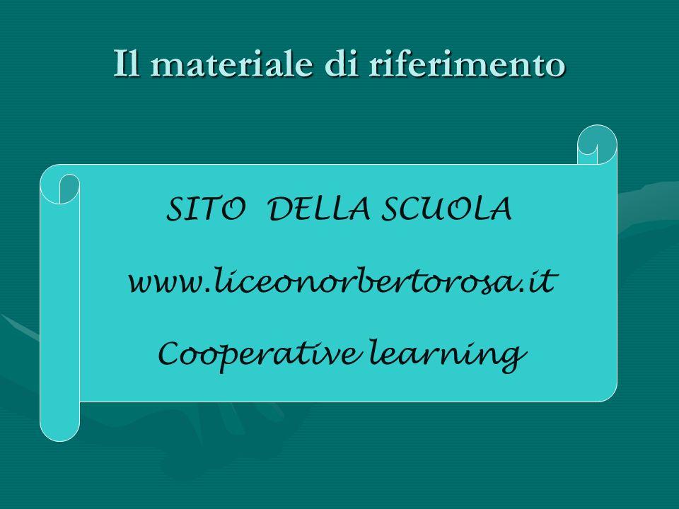 Il materiale di riferimento SITO DELLA SCUOLA www.liceonorbertorosa.it Cooperative learning