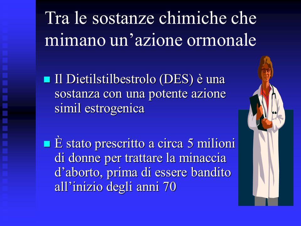 Tra le sostanze chimiche che mimano unazione ormonale Il Dietilstilbestrolo (DES) è una sostanza con una potente azione simil estrogenica Il Dietilsti