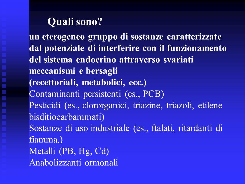 Quali sono? un eterogeneo gruppo di sostanze caratterizzate dal potenziale di interferire con il funzionamento del sistema endocrino attraverso svaria