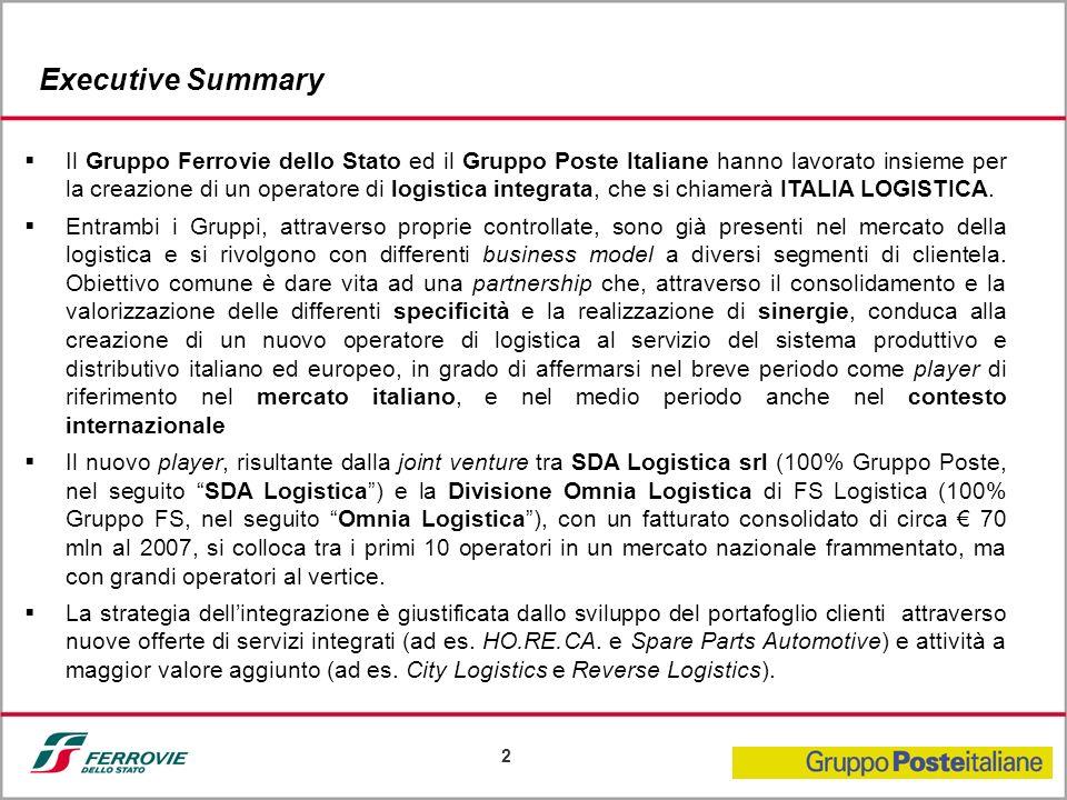 2 Il Gruppo Ferrovie dello Stato ed il Gruppo Poste Italiane hanno lavorato insieme per la creazione di un operatore di logistica integrata, che si ch